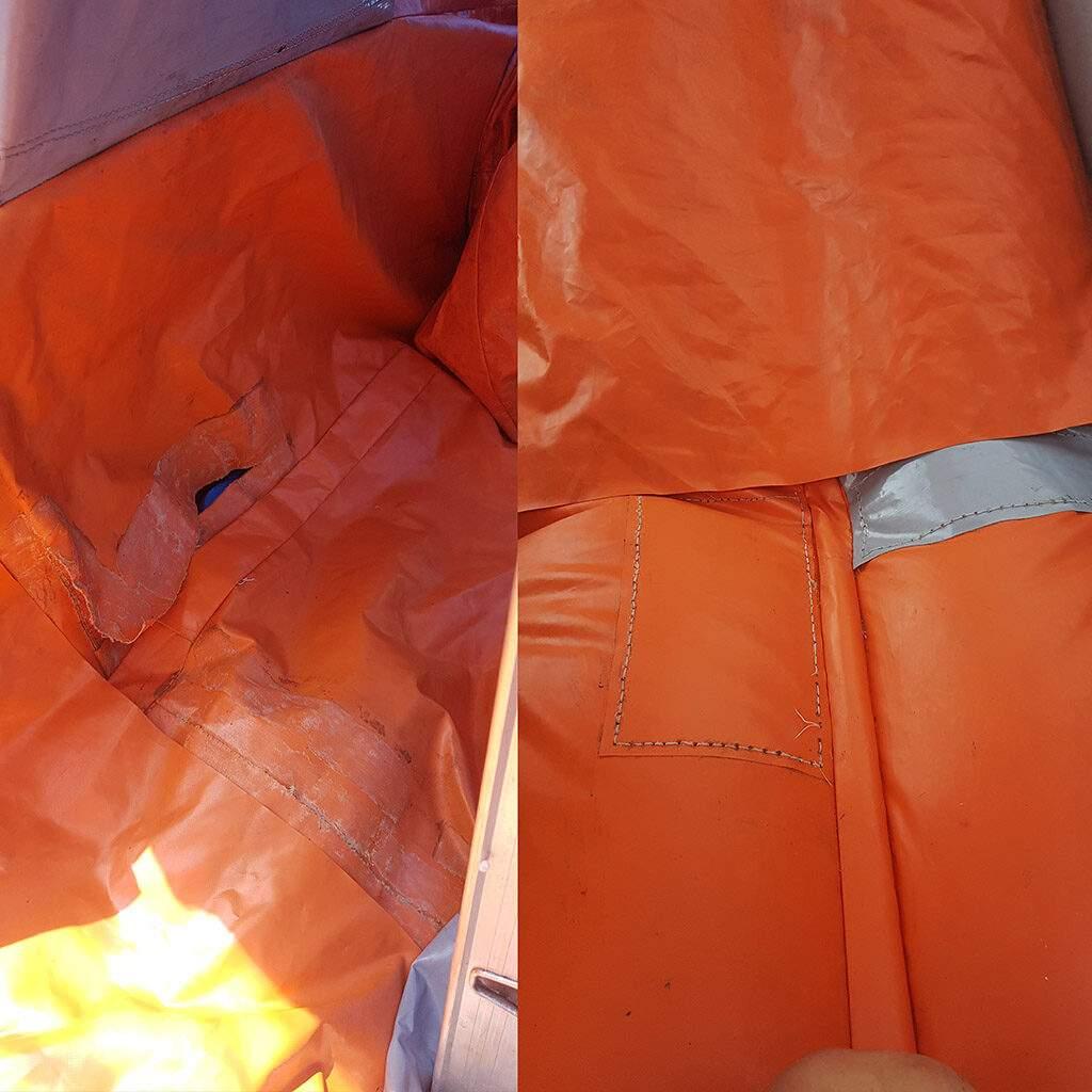 Servis nafukovacích atrakcií - Oprava potrhanej šmýkľavky ktorá bola amatérsky opravovaná nevhodným lepidlom.